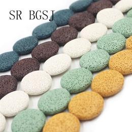 contas de pedra redonda plana Desconto 27mm frete grátis mais cores Flat Round Coin Beads Strand Rocha vulcânica Lava Pedra Atacado Beads Strand 15