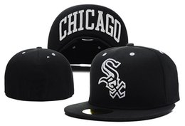 Top Quality Cheap White sox Fitted Baseball Hats In Full black Color City  Name Under The Flat Brim Sports Team Closed Caps One Piece 76aa6b1adc5e