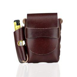 Cigarro pendurado on-line-FIRECLUB Caixa de cigarro portátil de 20 cm de cintura suspensa para homens de couro, com bolsos mais leves para cigarros