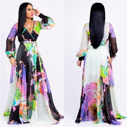 2019 chiffon dipinto Pittura ad acquerello di Lotus Designer Woman Dress con cintura Flora Long Dress Ladies Casual Summer Dresses chiffon dipinto economici