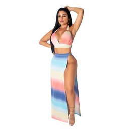 Nuove donne set estate tie dye a righe stampa halter profondo scollo a V posteriore aperto lato superiore split sexy maxi gonna 2pc set abito lungo da