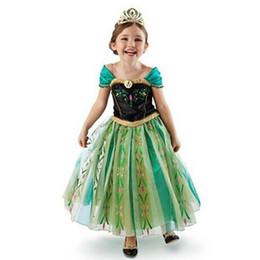 Wholesale 1 meninas anna cosplay princesa dress costumes do partido barato melhor crianças da páscoa o dia das bruxas off shouler patchwork vestidos formais vestidos