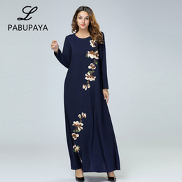 f2459b9447 Embroidered Loose Large Size Women s Long Sleeve Dresses Flower Printed  Ladies Elegance Party Dressing Gown Dubai Arab Casual Robe