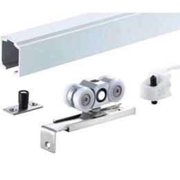 Partes de la puerta deslizante online-Rodillo deslizante super resistente certificado EN1527 Sistema de suspensión superior de 250 kg con kit de brida de soporte en ángulo para puerta de madera