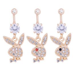 2019 falsos piercings en el ombligo Botón del Rhinestone suena el timbre de Oro 2019 diseñador de las mujeres de lujo del conejo Navels animales cristalinos del cuerpo del ombligo de la joyería superior de la manera