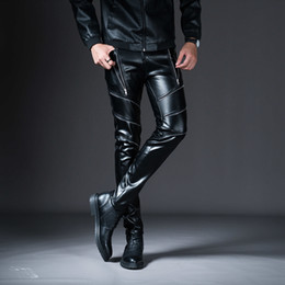 fashion wear flats Promo Codes - Men Cargo Pants 2019 New New Winter Spring Men's Skinny Leather Pants Fashion Faux Leather Trousers For Male Trouser Stage Club Wear Biker P