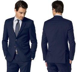 Tuxedos de bonne qualité couleur marine Business formel revers revers avec deux boutons évents côté soirée habillement ensemble ? partir de fabricateur