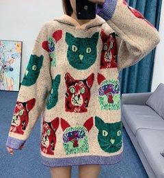 2020 vestido para el invierno europa Europa estación de gato de 2019 nuevas mujeres encapuchadas de punto de otoño de vestir y vestido de suéter de lana fina floja de invierno vestido para el invierno europa baratos