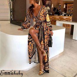 jersey di bambù Sconti Plus Size Ladies manica lunga floreale Bohemian Fashion Women Party Bodycon Maxi Dress abbigliamento C19040301
