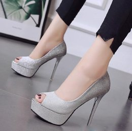 2019 zapatos de la boda de la plataforma de champán Gladient color plata champán peep toe plataforma bombas brillo zapatos de boda vestido de baile vestido zapatos tamaño 34 a 39 zapatos de la boda de la plataforma de champán baratos