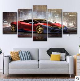 auto leinwand bilder Rabatt Wandkunst Leinwand Bilder 5 Panels Moderne Autos Kein Rahmen Ölgemälde Leinwand Kunst Wandbild Für Bett Zimmer Ungerahmt