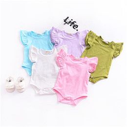 50abad53a6c New kids 8 colors climbing clothing babe flying sleeve solid jumpsuits  infant cotton rompers baby boy baby girl jumpsuits