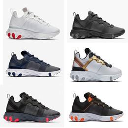 Compre Nike Air React Eleman 87 55 Desierto React Element 87 Zapatillas De Running Para Hombre Mujer Hombre Triple Negro Vela Color Real Oro Metálico
