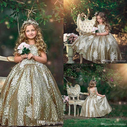 flor menina verde vestido strass Desconto 2019 Sparkly Sequins Flower Girl Dresses Gold Shinny Ball Gown Bow Sash Floor Length Little Girls Pageant Dress Custom Made BC1484