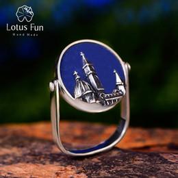 2020 anelli di lapis Lotus Fun Argento 925 anelli registrabili per monili delle donne di pietra naturale Lapis Duomo di Firenze argento antico Vintage sconti anelli di lapis
