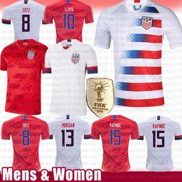 Camisetas de futebol dos eua on-line-dos homens Mulheres LLOYD 10 KRIEGER 11 MORGAN 13 América Estados Unidos EUA Soccer Jersey camisa de futebol equipa RIPINOE Pulisic McKennie Nacional