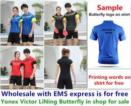 2019 badminton vermelho Atacado EMS de graça, Impressão de texto de graça, nova camisa de badminton roupas de tênis de mesa T camisa esporte roupas b035