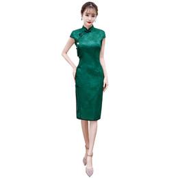 Argentina Shanghai Story Longitud de la rodilla Qipao Vestido tradicional chino para niñas Vestido oriental Ropa de mujer china Encaje Cheongsam Suministro