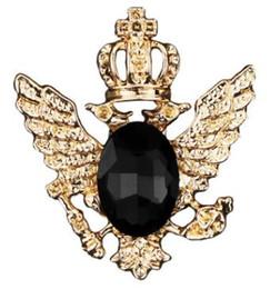 broche de corrente de cristal Desconto Pinos de aço inoxidável de luxo aves broches para homens mulheres de cristal banhado a ouro broches de broche de andorinha broches para o negócio