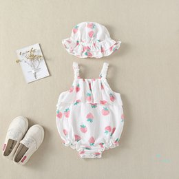 Infant Baby Girls Sleeveless Strawberry Printed Dress+Straw Hat Clothes Mamum Summer Casual Princess 2Pcs Outfits Set