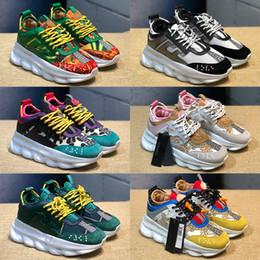 2019 sapatos de luxo para homens Luxo Reação Em Cadeia Casual Sapatos De Grife Mens Womens 2019 Moda de Alta Qualidade Distrito Medusa Link-Alto Relevo Treinador 5.5-11 desconto sapatos de luxo para homens