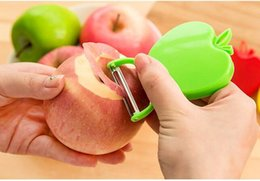 Cuchillo de melon de fruta online-Accesorios rallador de cocina de acero inoxidable cuchillo de cocina de acero manzana / cuchillo de fruta / avión melón utensilios de cocina pelador plegable