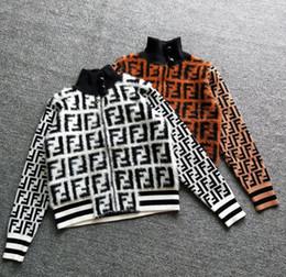 Veste en maille en Ligne-2019 Printemps et Automne Veste Lettres Couture Zipper Veste Femme Col Mi-Haut Cardigan Tricoté Tricot Court Section Femmes Designer Vestes