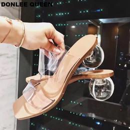 2019 quadratische toe sandalen Sommer Kristall Geometrische Ferse Frauen Hausschuhe Schuhe Transparent PVC Sandalen Karree Ball Ferse Rutsche Alias Mujer 2019 Party günstig quadratische toe sandalen