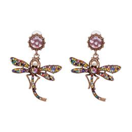 großhandel tier ohrringe Rabatt GEREIT Vintage Metall Aussage Ohrringe Für Frauen Glänzende Libelle Tiere Mode Tropfen Baumeln Ohrringe Schmuck Großhandel Hot S