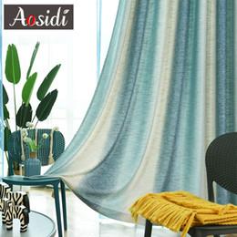 Tessuto di lino blu online-Tende di lino sfumate per soggiorno Tende a strisce arcobaleno per bambini in camera da letto 80% Ombreggiatura Tessuto cieco