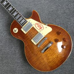 Argentina Guitarra eléctrica hecha a mano de alta calidad, Tobacco burst, encuadernación de crema para trastes, cuerpo de una pieza, puente Tune-o-Matic cheap guitar handmade Suministro