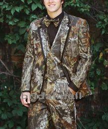 2019 Realtree Camo Esmoquin de boda Granja Traje de camuflaje de boda Por encargo Slim Fit Mens Blazers Moda Novio desgaste (chaqueta + pantalones + chaleco + corbata) desde fabricantes