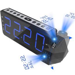 прикроватный цифровой будильник Скидка FM Radio Alarm Clock with time Projection Temperature Electronic Table Watch Bedside Desk Projector watch nixie Digital Clock