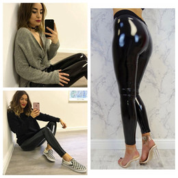 Mulheres elásticas das calças do plutônio on-line-Mulheres de couro PU leggings de cintura alta calça branca preta Leggings Feminino Calças Lápis Calças Elásticas mulheres calça
