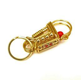 2020 латунь для ключей Чисто ручной работы Брелок в Латунь Нержавеющая сталь Сердце в Сердце автомобиля Ключевые кольца Beads Key Holder дешево латунь для ключей