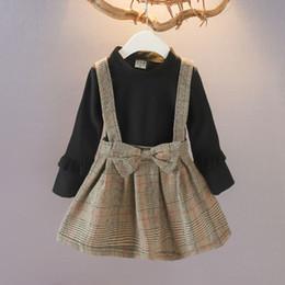 Mädchen gitter kleid online-Mädchen Nette Gitter Gedruckte Kleider 3 Design Winter Herbst Langarm Kinder Design Kleid Mädchen Prinzessin Kleid 1-7 T 04