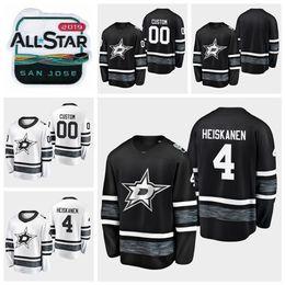 2019 beste weiße hemden 2019 All Star Game Miro Heiskanen Anpassen Dallas Stars Hockey Trikots Schwarz Weiß Jersey # 4 Miro Heiskanen Genähte Hemden Beste Qualität günstig beste weiße hemden