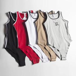 um pedaço jumpsuit padrões Desconto Macacões das mulheres do verão sexy magro bordado one piece terno para mulheres new designer de romper das mulheres com letra padrão 5 cores