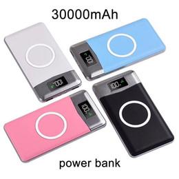 banco de poder emoji Rebajas Banco inalámbrico de la batería 30000mah Banco externo de la batería Cargador inalámbrico incorporado Cargador portátil Powerbank para iPhone8 x note9