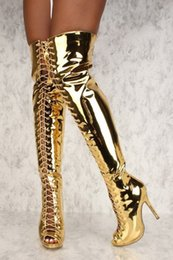 d4290b537 Discount gold over knee boots - Sexy Mirror Silver Gold Peep Toe High Heels Thigh  High