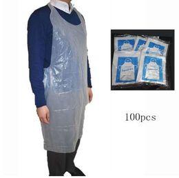 пластиковые фартуки Скидка Приготовление пищи очистки одноразовые пластиковые фартук прозрачный водонепроницаемый фартук бытовой чистящие средства Кухонные аксессуары