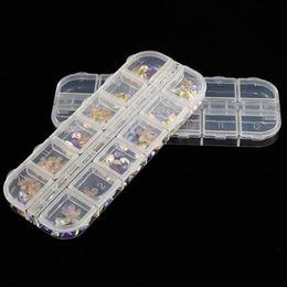 Scatola per conservare le unghie artistiche 12 Scomparti Griglie Scomparti di plastica con paillettes Gioielli Mini Diamond Scatole vuote nuove da