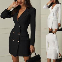 nuevo traje cruzado Rebajas Nuevas mujeres de bolsillo de pecho doble juego de la chaqueta del otoño del resorte de las mujeres chaquetas largas elegante de manga larga chaqueta de abrigo