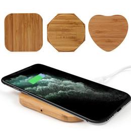 Carregador sem fio de bambu on-line-Bamboo sem fio Carregador de madeira de madeira Pad Qi rápida doca de carregamento Cabo USB Tablet carregamento para iPhone 11 Pro Max Por Samsung Nota 10 Além disso,