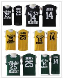 2019 logo bancário Jersey de basquete de Will Smith de homens 25 Carlton Banks verde preto verde Stiched o logotipo de número de Academia do Príncipe de Bel Air Freshme logo bancário barato