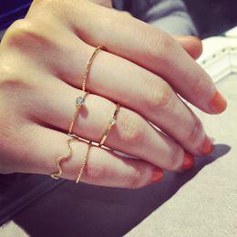 серебряная нить Скидка Кольца с винтовой нарезкой с хрустальным бриллиантом Мода Сустав Кольца Кольца Простой стиль Золотое серебро Кольцо