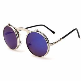 Gafas de sol gafas de sol online-2019 nuevo Flip Up Steampunk gafas de sol hombres ronda Vintage Sunglass marca diseñador gafas de moda Uv400