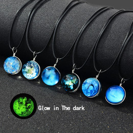 chains for glasses Coupons - New Glow in the dark Galaxy Universe Necklaces Luminous Glass Cabochon Star Moon pendant Black wax rope chain For Women Men Fashion Jewelry