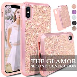slim cases pour iphone Promotion Coque Glamour Slim 2 en 1 hybride scintillante pour iPhone x xr xs max Coque de protection pour 8 7 6 6S Plus