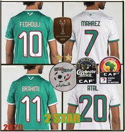 2019 Campione Coppa d'Africa Algeria maglie di calcio AFCON Mahrez Brahimi BOUNEDJAH BOUAZZA 19 20 Algerie Divisa CAMICIE + cerotto da